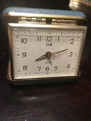 Vintage Elgin Travel Wind Up Alarm Clock Compact Blue Clam Shell RUNS
