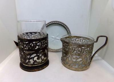Vintage Antique Child's - Infants Cup & Drinking Glass Set - Silver Filigree