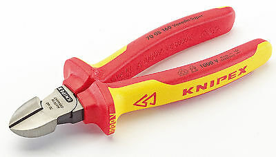 Knipex 70 08 160 VDE Fully Insulated Diagonal Side Cutters 160mm - Draper 31926