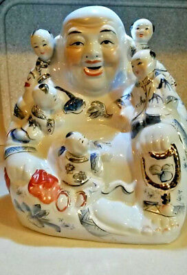 Stunning 20th C. Chinese Famille Rose Laughing Buddha With Five Kids. Large