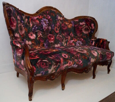 Antique French Napoleon III 3 Seater Settee in a Floral Velvet Fabric