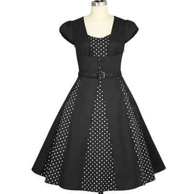 Chic Star 50s Polka Dot Panel Dress Retro Prom Vintage Pin Up Rockabilly