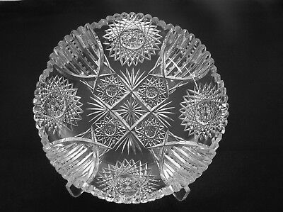 American Brilliant cut  glass Low bowl SIgned Clark Fine cutting Antique crystal
