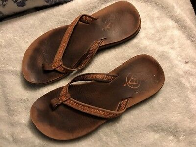d4ffe0cf3 Reef Womens Size 6 Brown Leather Casual Flip Flops Sandals Shoes SC8