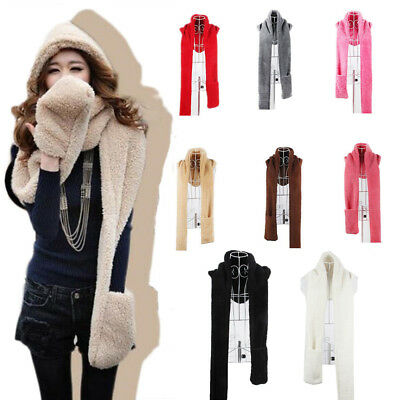 US Stock Outdoor Women 3 in 1 Winter Warm Plush Soft Hat Hooded Scarf Gloves Set