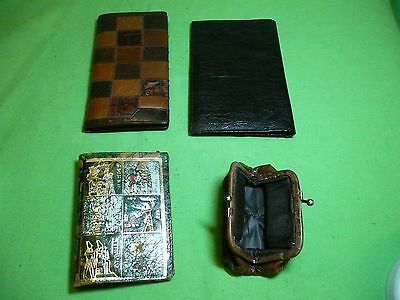 LOT OF 4 WALLETS purse vintage ANTIQUE USED LEATHER EGYPT