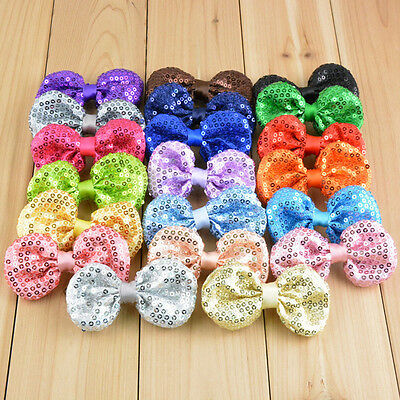 5/10x Baby Kids Girl Glitter Sequin Bows Tie Hair Accessory DIY Without Clip Lot