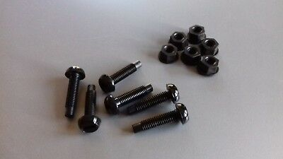 SECURITY *** 6 x NUMBER PLATE FIXING BOLTS & NUTS - BLACK *** SECURE