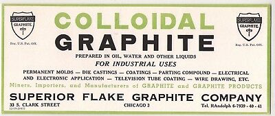 Vintage Chicago ~Ink Blotter~ Superior Flake Graphite Co. 33 S. Clark St