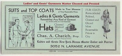 Charles Chatich Ladies & Gents Master Tailor & Furrier New York Ad Ink Blotter