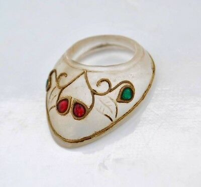 Vintage indo persian mughal islamic jewelled crystal archer thumb ring no bow