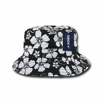 DECKY BUCKET HAT Black   White Hawaiian Floral Summer Sun Holiday - NEW a8d95fcded74
