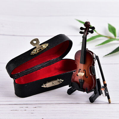 Mini Violin Miniature Musical Instrument Wooden Model with Support and Case FT