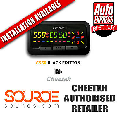 Cheetah C550 Black Edition, Speed Camera Detector, Speed Trap, Red Light Camera