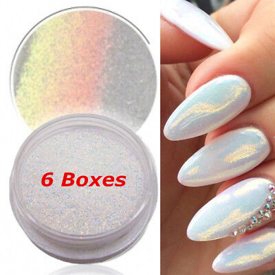 6PCS Nail Art Powder Dust Iridescent Trend Mirror Mermaid Effect Glitter Pigment