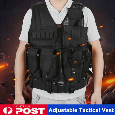 Adjustable Military Tactical Hunting Vest Army SWAT Airsoft Paintball Jacket AU