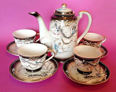 Gray Dragon Ware Teapot With 4 Demitasse Cups And Saucers - Hand Painted Japan