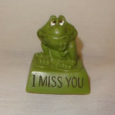 """Vintage Frog Wallace Berrie Statue Figurine 2"""" I Miss You Plastic"""