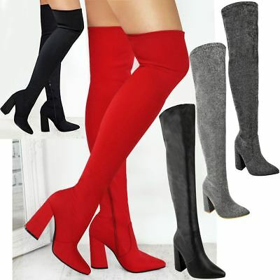 Womens Ladies Thigh High Boots Lycra Over The Knee Pointy Block High Heels Size