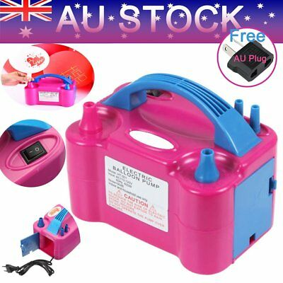 Hot Electric Balloon Inflator Pump Two Nozzle High Power Air Blower Portable AG