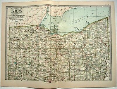 Original 1902 Map of Northern Ohio - A Finely Detailed Color Lithograph