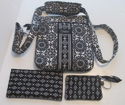 Longaberger Sisters Quilted Black White Pocketbook Wallet Check Holder