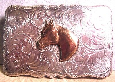 SOLID STERLING SILVER Diablo ARABIAN Horse Head Cowboy Belt Buckle FREE SHIPPING
