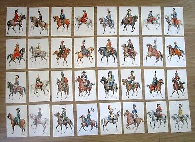 32 x W.Tritt prints of 18th & 19th Century military uniforms on postcards