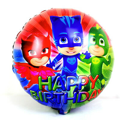 "18"" Pj Masks Happy Birthday Heluim Quality Foil Balloon Party Decoration."