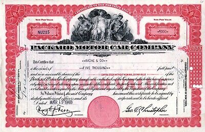 1948 Packard Motor Car Company of Michigan Stock Certificates Red  5000 Shares