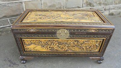 Antique Carved Oriental Camphor Trunk Bedding Box Coffee Table
