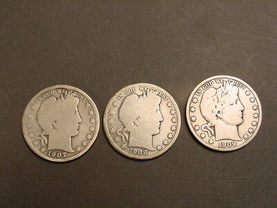 Lot Of Three (3) Barber Half Dollars~1907-08-09 S~3 Coins Same Mint 1 Auction~