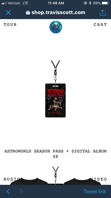 57662ca07816 ASTROWORLD VIP SEASON Pass - TRAVIS SCOTT - $16.35 | PicClick