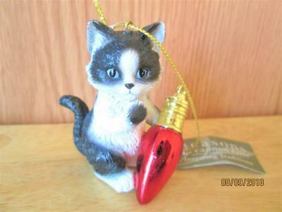 Seasons Of Cannon Falls Black & White Cat With Red Bulb Christmas Ornament Nwt