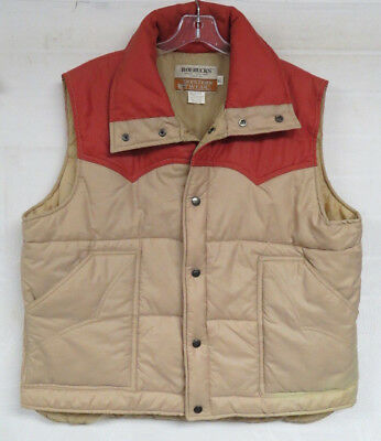 VINTAGE DENIM VEST PUFFER SEARS WESTERN WEAR ROEBUCKS 2 TONE MENS XL VTG 80s
