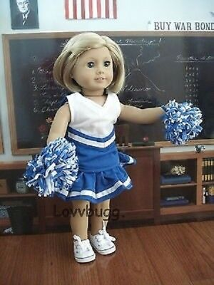 Blue Cheer Leader Uniform Costume w Poms for 18 inch American Girl Doll Clothes