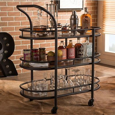 Rolling Kitchen Bar Cart Portable Serving Home Liquor Storage Table Metal Wood