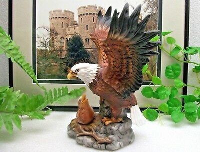 "Wildlife   AMERICAN  EAGLE  with Baby Eaglet   8"" Porcelain Bird Statue Figurine"