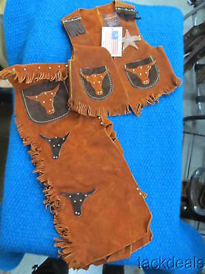 New in Box Craighead USA Maker Kids Vest & Western Chaps Chap Set Leather Small