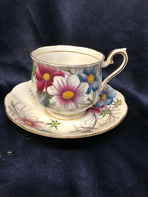 Royal Albert Flower Of The Month Series Cosmos No 10 Footed Cup & Saucer 8 Oz