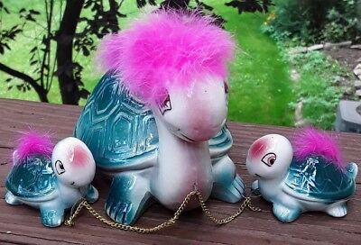 Vintage Japan Turtle Pink Fur Chain Babies New Old Stock Turtle Family
