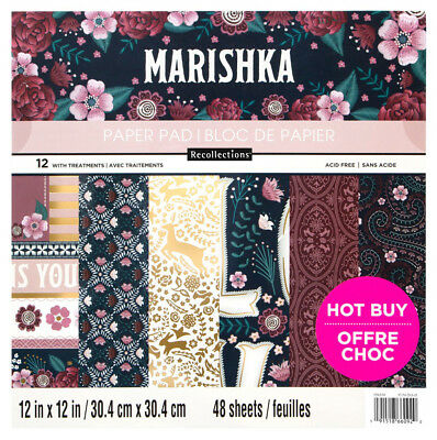 """New Recollections Marishka Paper Pad Embroidery Flowers 12""""X12"""" 48 Sheets"""