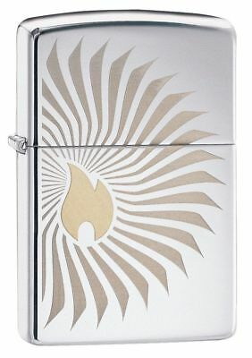 Zippo 29726, Flames Rays,High Polish Chrome Finish Lighter, Full Size