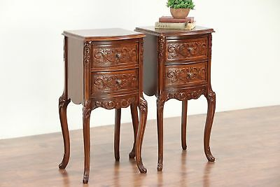 Pair of French Style Vintage Carved Walnut & Burl Nightstands #29443