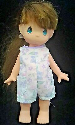 """Precious Moments 1992 posable doll 10"""" brown hair green eyes all plastic body"""