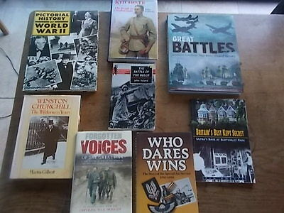 Collection Joblot 8 Vintage Military Books WW1 WW2 Bletchley Kitchener Churchill