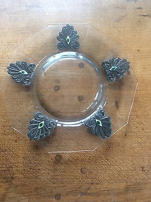 Magnificent Arts & Crafts RUSKIN POTTERY Cabochons in Pewter Art Glass Charger