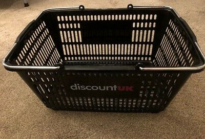 Black Plastic Shopping Basket with Metal Carry Handles 5 & 10 & 20 Pack 27 Litre