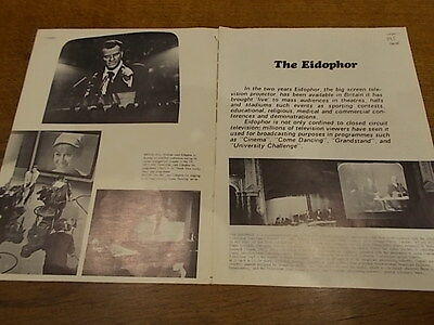 RARE Vtg Book EIDOPHOR SUPPLEMENT TELEVISION MAIL Big Screen TV Projector