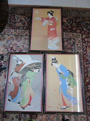 "Lithograph Set Of Three Japanese Ladies Bamboo Frame 23 X 15"" Signed On Plate"